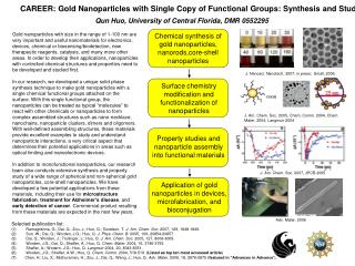 CAREER: Gold Nanoparticles with Single Copy of Functional Groups: Synthesis and Study