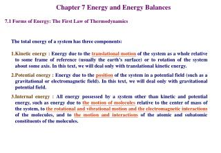 Chapter 7 Energy and Energy Balances