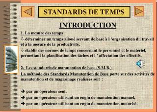 STANDARDS DE TEMPS