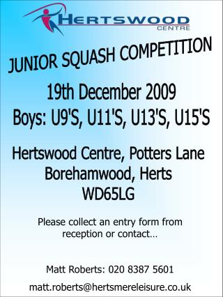 JUNIOR SQUASH COMPETITION