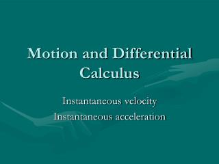 Motion and Differential Calculus