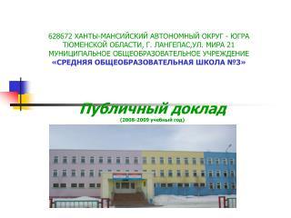 Публичный доклад (2008-2009 учебный год)
