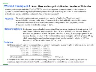 Worked Example 6.1  Molar Mass and Avogadro's Number: Number of Molecules