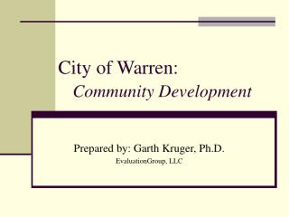 City of Warren: Community Development