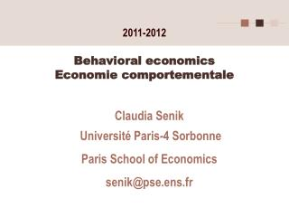 Behavioral economics Economie comportementale