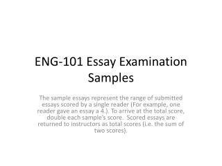ENG-101 Essay Examination Samples