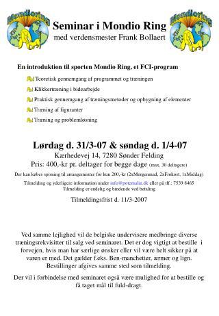 Seminar i Mondio Ring med verdensmester Frank Bollaert