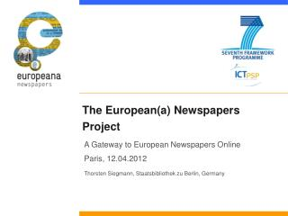 The European(a) Newspapers Project