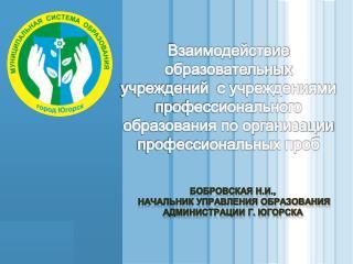 Бобровская Н.И.,  начальник управления образования администрации г. Югорска