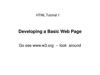 Developing a Basic Web Page