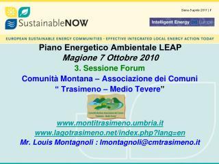 Piano Energetico Ambientale LEAP Magione 7 Ottobre 2010