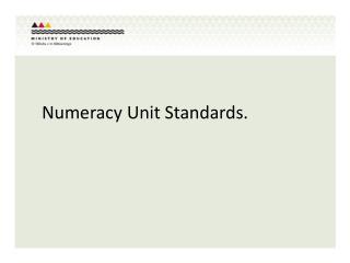 Numeracy Unit Standards.