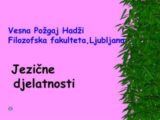 Vesna Požgaj Hadži Filozofska fakulteta,Ljubljana Jezične   djelatnosti
