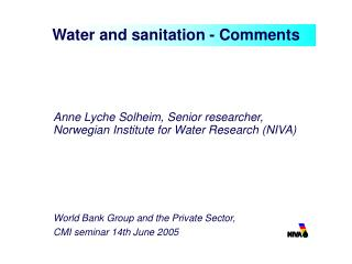 Water and sanitation - Comments