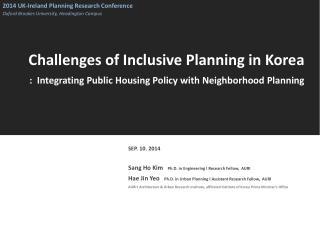 Challenges of Inclusive Planning in Korea