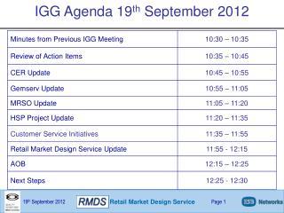 IGG Agenda 19 th  September 2012