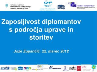 Zaposljivost diplomantov s področja uprave in storitev  Jože Zupančič, 22. marec 2012