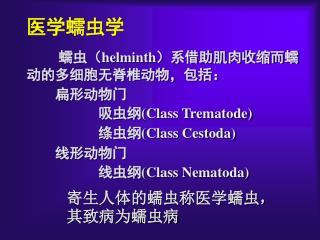 医学蠕虫学 蠕虫 ( helminth ) 系借助肌肉收缩而蠕动的多细胞无脊椎动物,包括:     扁形动物门           吸虫纲 (Class Trematode)
