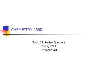 CHEMISTRY 2600