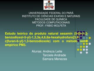 UNIVERSIDADE FEDERAL DO PARÁ INSTITUTO DE CIÊNCIAS EXATAS E NATURAIS FACULDADE DE QUÍMICA