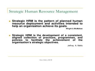 HRM/HRD IN STRATEGIC ORG(SHRM)