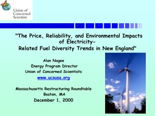 Alan Nogee  Energy Program Director Union of Concerned Scientists ucsusa