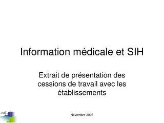 Information médicale et SIH