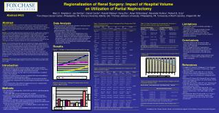 Regionalization of Renal Surgery: Impact of Hospital Volume  on Utilization of Partial Nephrectomy
