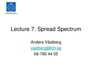 Lecture 7:  Spread Spectrum