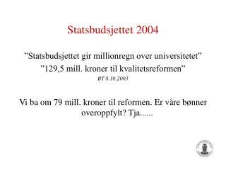 Statsbudsjettet 2004