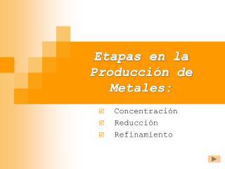 Etapas en la Producci�n de Metales: