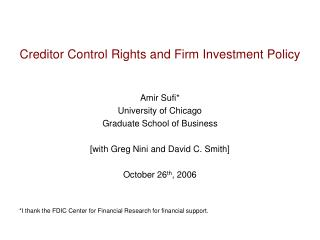 Creditor Control Rights and Firm Investment Policy