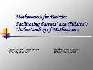 Mathematics for Parents: Facilitating Parents' and Children's Understanding of Mathematics