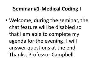 Seminar #1-Medical Coding I