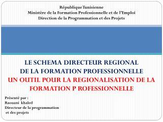 LE SCHEMA DIRECTEUR REGIONAL  DE LA FORMATION PROFESSIONNELLE
