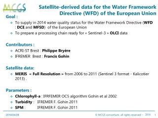 Satellite-derived data for the Water Framework Directive (WFD) of the European Union