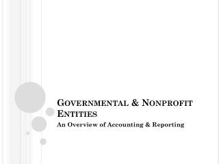Governmental & Nonprofit Entities