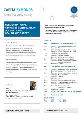Programme NGC1    : 	MANAGEMENT OF HEALTH AND SAFETY