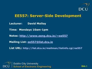 EE557: Server-Side Development