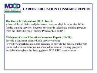 CAREER EDUCATION CONSUMER REPORT