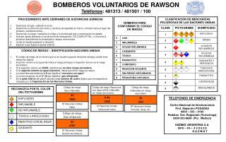 BOMBEROS VOLUNTARIOS DE RAWSON   Teléfonos : 481313 / 481501 / 100