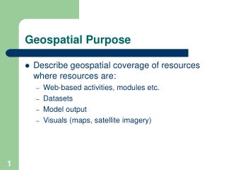 Geospatial Purpose
