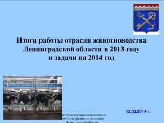 Итоги работы отрасли животноводства Ленинградской области в 2013 году  и задачи на 2014 год