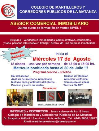 ASESOR COMERCIAL INMOBILIARIO Quinto curso de formación en ventas NIVEL 1