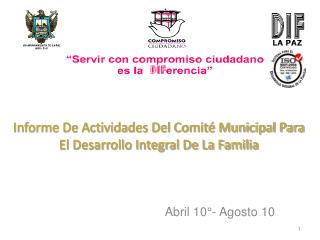 Informe De Actividades Del Comité Municipal Para El Desarrollo Integral De La Familia