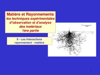 II - Les Interactions  rayonnement - matière
