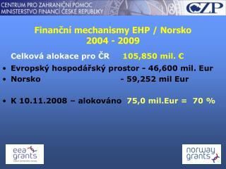 Finanční mechanismy EHP / Norsko 2004 - 2009