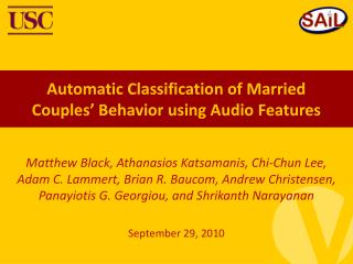 Automatic Classification of Married Couples' Behavior using Audio Features