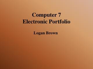 Computer 7  Electronic Portfolio