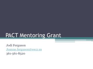 PACT Mentoring Grant